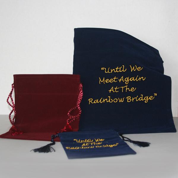 Dark blue velvet bags (no embroidery)